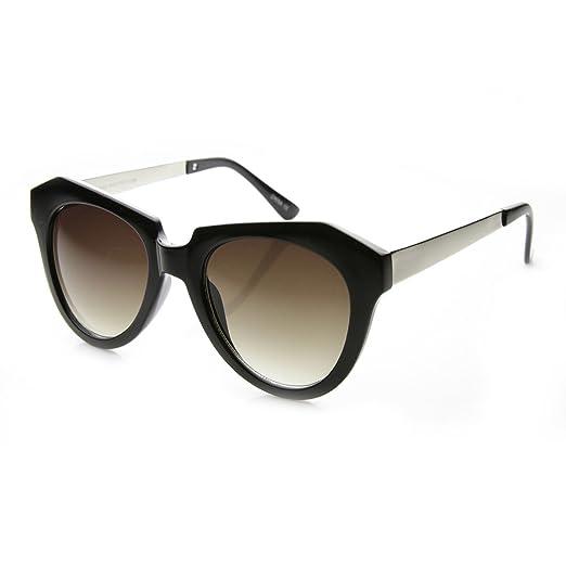 6b1e5c7246ab6 High Fashion Oversized Angular Edge Geometric Bold Cat Eye Sunglasses (Shiny -Black-Silver