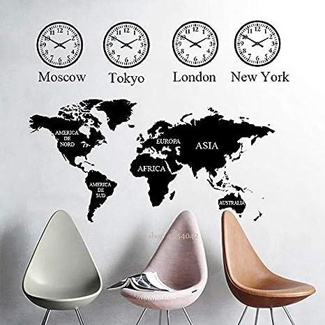 Ajcwhml Mapa del Mundo Grande Etiqueta de la Pared Sala de Oficina Etiqueta de la Pared Reloj Pintor de Pared Dormitorio Sala de Estar Decoración Mapa Papel Tapiz: Amazon.es: Hogar