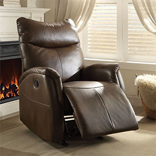 Brown Finish Rocker Recliner - BOWERY HILL Leather Aire Rocker Recliner in Brown