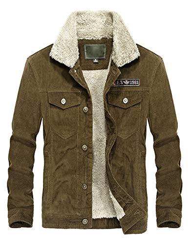 1a34f3ae12bc Lentta Mens Winter Slim Short Military Sherpa Lined Corduroy Trucker Jacket  Coat