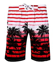 APTRO Men\'s Colorful Stripe and Coconut Tree Printing Beach Board Shorts 1525 Red L