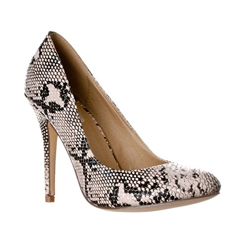 Riverberry Women's Piper Round Toe, High Heel Pumps, Beige Python, 7.5