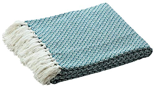 Farmhouse Throws Blanket with Fringe for Chair,Couch,Picnic,Camping, Beach,Throws for Couch,Everyday Use, 100% Ring Spun Cotton Throw Blanket with Super Soft and Excellent Handfeel 50 x 60 -Sea Green by Life By Cotton
