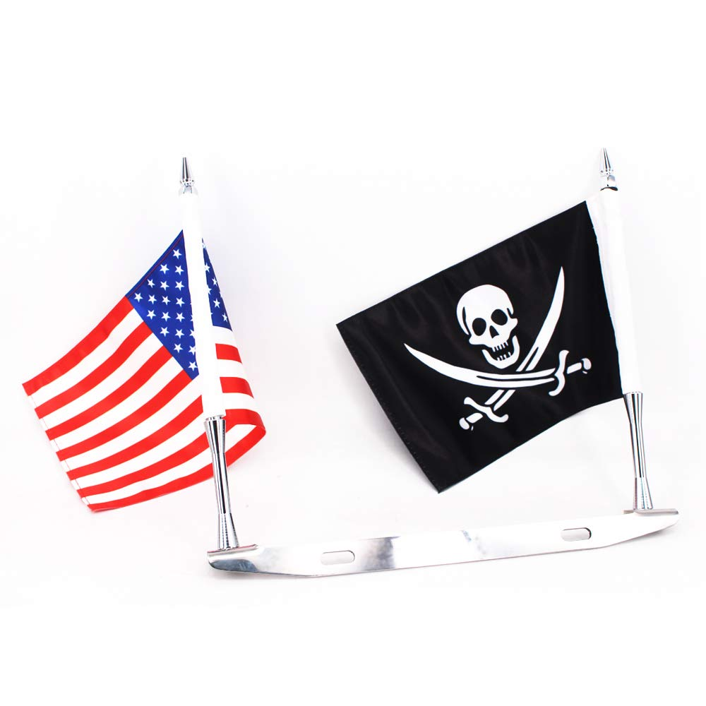 GUAIMI License Plate Mounted Double Flag Holder with Double Flags (The American Flag & Jolly Roger Flag)