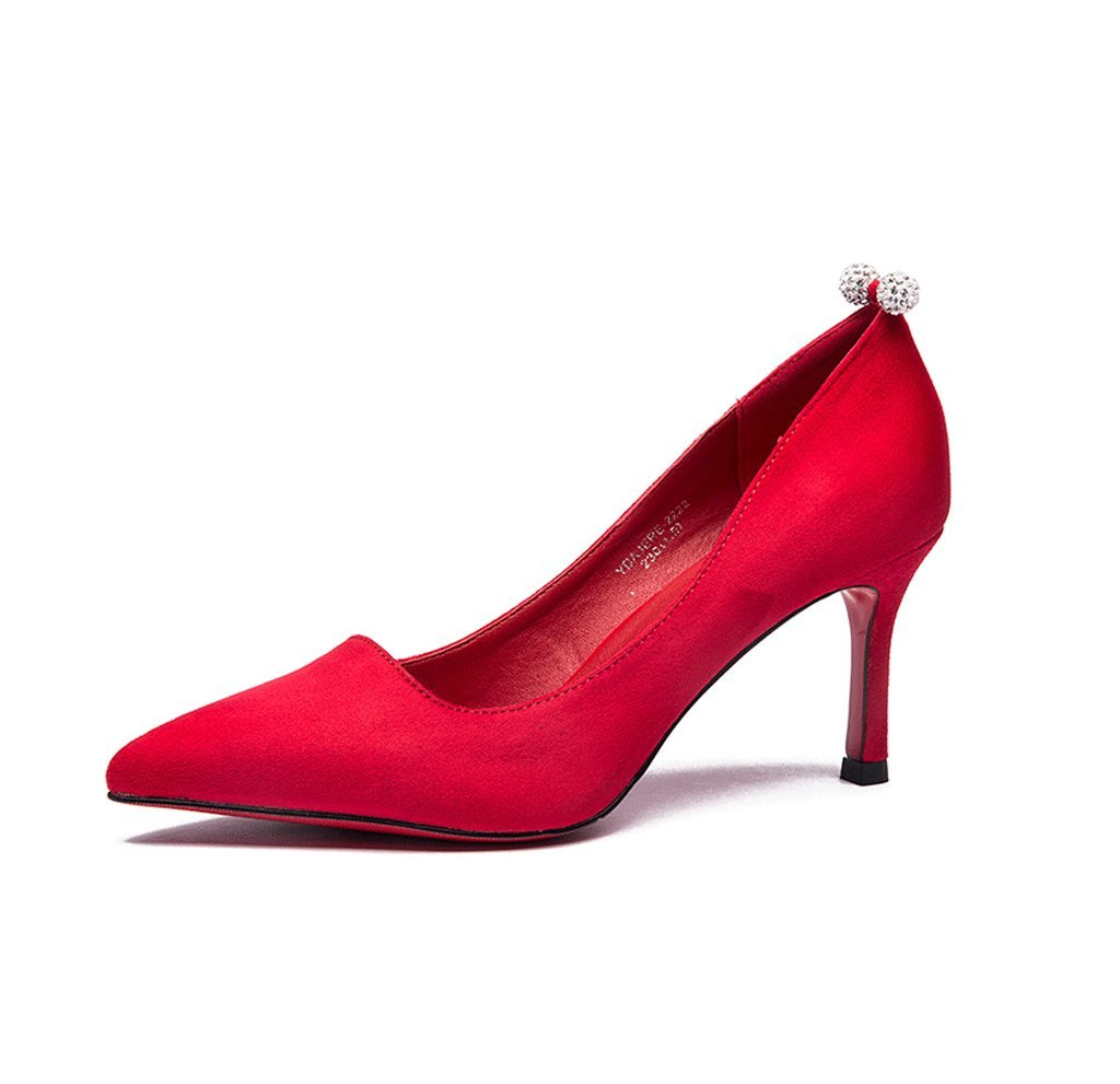 Spring and summer elegant high heels sexy shallow mouth pointed women wedding shoes (Color : Red, Size : 36)