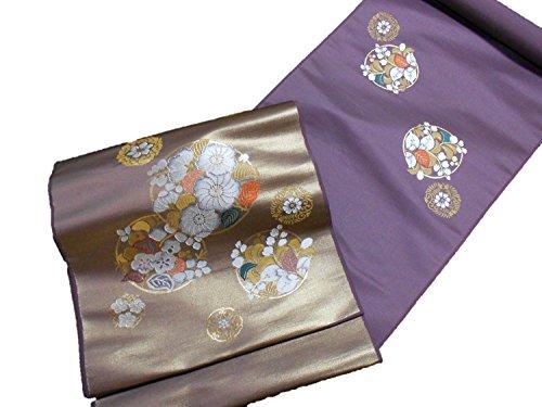 上保存重量正絹九寸名古屋帯【西陣】【丸福織物】【紫】【日本製】【未仕立て】【】