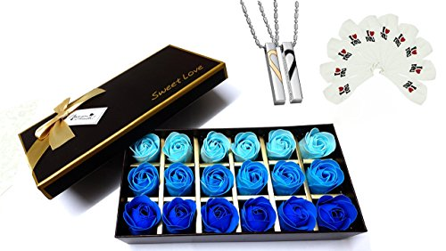 Couple Mastermind 18 Pieces Scented Rose Bath Soap, Heart Pendant Necklace Set, and I Love You Latex Balloons Bundle- - Perfect Gift for Anniversary/ Birthday/Valentine's Day/ Proposal (blue) (Birthday Heart Pendant)
