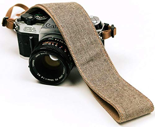 Brown Jeans Camera Strap Real Denim Belt for All DSLR Camera. Denim Style Universal SLR Strap, Neck Shoulder Camera Strap for Canon, Nikon,Pentax, Sony, Fujifilm and Digital Camera