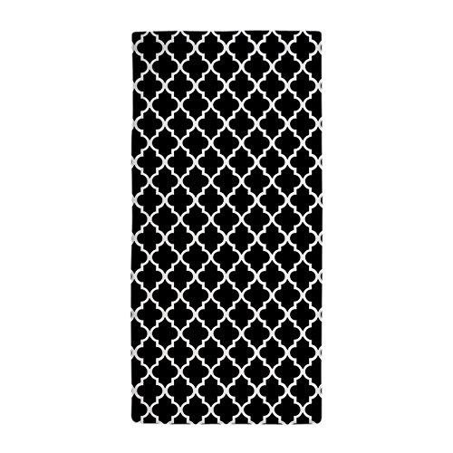 CafePress - Black And White Quatrefoil - Large Beach Towel,
