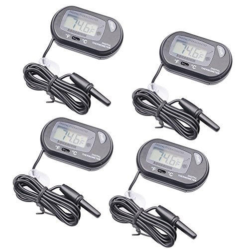 Qunqi 4packs LCD Digital Aquarium Thermometer Fish Tank Water Terrarium Temperature ()
