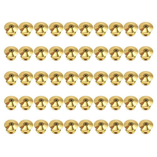 50 Pcs Metal Pin Keepers Backs, Locking Pin Keepers Backs (No Tool Required) (Gold)