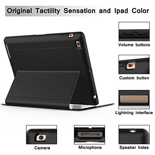 Qelus iPad 2 Case, iPad 3 Case, iPad 4 Case, Premium Leather Magnetic Stand Folio iPad Case Cover with Auto Wake/Sleep Protective Case for Apple iPad 2/3/4(9.7 inch released before 2013) (Black) by Qelus (Image #2)