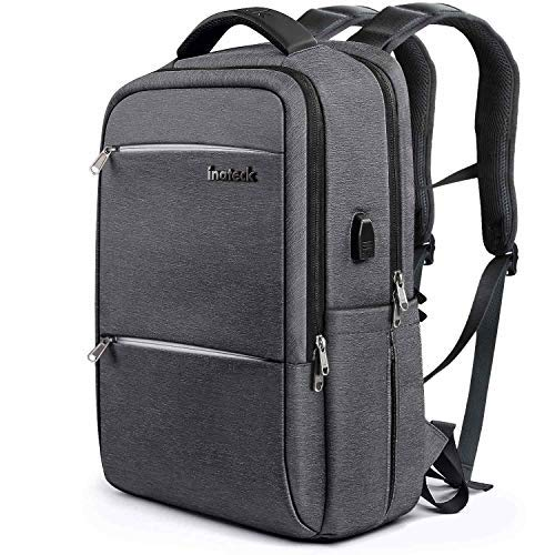 Inateck School Laptop Backpack Fits 15.6 Inch Laptops, College Business Travel Bag Rucksack with Waterproof Rain Cover/USB Charging Port , Dark Gray