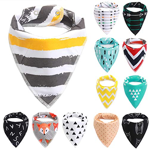 LANG XUAN Baby Bibs Bandana Bibs for Boys and Girls,8- Pack 100% Organic Cotton Baby Drool Bibs for Toddler Teething Form 0 to 36 Months (Pattern 2) (Best Bandana Bib Pattern)