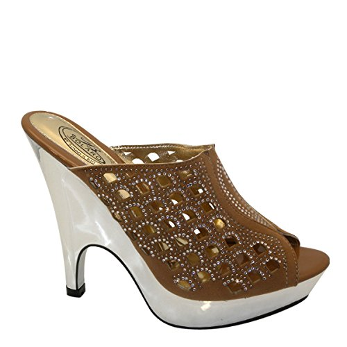 New Brieten Womens Peep Toe Cut Out Rhinestone Studded Platform High Heel Slide Sandals Camel AndEf7P5CE