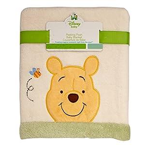 Disney Winnie the Peeking Pooh Super Soft Appliqued Baby Blanket, Ivory/Sage/Yellow