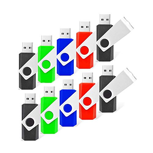 RAOYI 10 Pack 8GB Swivel USB Flash Drive Metal Thumb Drives Pen Drive USB 2.0 Bulk Flash Drive Memory Stick(Black/Red/Blue/Green,4 Mixed Colors) ()