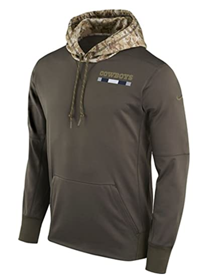 3fb6fc865 Amazon.com : Dallas Cowboys Nike Olive Salute to Service Sideline  Therma-Fit Pullover Hoodie : Clothing