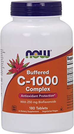 NOW Supplements, Vitamin C-1000 Complex with 250 mg of Bioflavonoids, Buffered, Antioxidant Protection*, 180 Tablets