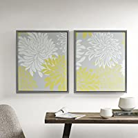 Comfort Spaces - Printed Canvas Set With Frame - 2 Pieces, 20 x 24 - Enya - Yellow, White, Grey, Floral