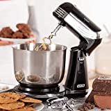 Dash Stand Mixer (Electric Mixer for Everyday Use): 6 Speed Stand Mixer with 3 qt Stainless Steel Mixing Bowl, Dough Hooks & Mixer Beaters for Dressings, Frosting, Meringues & More - Black