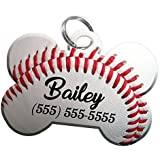 Sport Themes Pet ID Dog Tag - Personalized Custom Pet Tag with Pets Name & Contact Number [Multiple Font Choices] [USA COMPANY] [Baseball - Football - Soccer - Basketball]