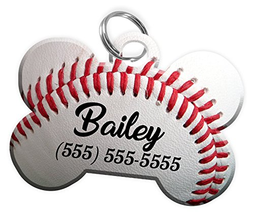 Sport Themes Pet ID Dog Tag - Personalized Custom Pet Tag with Pets Name & Contact Number [Multiple Font Choices] [USA COMPANY] [Baseball - Football - Soccer - Basketball] (Baseball)