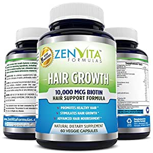 Hair Growth Vitamins with 10,000 mcg Biotin + 18 Hair Nourishing Vitamins, Help Address Deficiencies related to Hair Loss and Baldness*, Support Healthy Hair, Skin, and Nail*. 60 Veggie Capsules