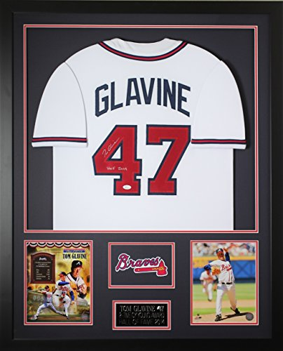 (Tom Glavine Autographed White Braves Jersey - Beautifully Matted and Framed - Hand Signed By Tom Glavine and Certified Authentic by JSA - Includes Certificate of Authenticity)