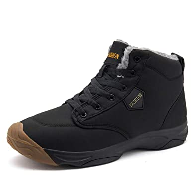 c4e1f012f28 Gaatpot Winter Fur Lined Ankle Snow Boots Men s Warm Lace-Up Sneakers  Waterproof Trekking Walking Shoes High Top Casual Leather Winter Shoes Size  6-11.5