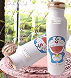 Prisha India Craft Digital Printed Pure Copper Water Bottle Kids School Water Bottle - Doremon Design, 1000 ML| Set of 2