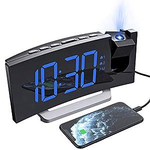 """Mpow Réveil Projection, Radio Reveil Projecteur avec écran Incurvé à LED 5 """", Double Alarme et 5 Sons D'Alarme…"""