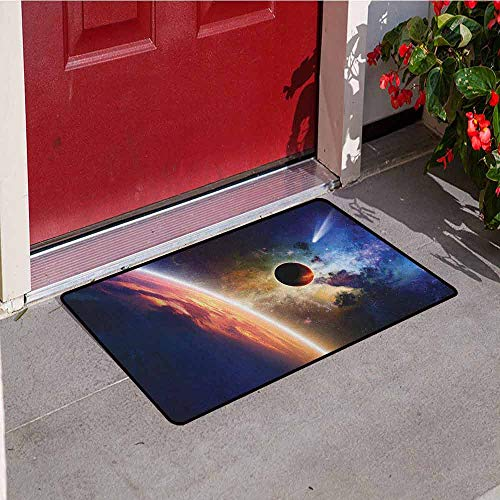 GloriaJohnson Outer Space Commercial Grade Entrance mat Comet Approaches Vibrant Planet Scientific Realities in Solar System World Scene for entrances garages patios W29.5 x L39.4 Inch Red Blue