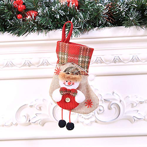 Allywit Christmas Stocking, Santa, Snowman, Reindeer, Xmas Character 3D Plush Faux Fur Cuff Christmas Decorations Party Accessory (C)