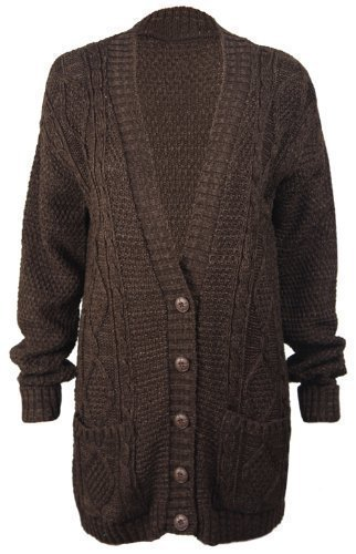 - PurpleHanger Women's Long Sleeve Cable Knit Chunky Cardigan Dark Brown 12