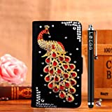 Locaa(TM) LG Google Nexus 5 3D Bling Peacock Case + Phone stylus + Anti-dust ear plug Deluxe Luxury Crystal Pearl Diamond Rhinestone eye-catching Beautiful Leather Retro Support bumper Cover Card Holder Wallet Cases [Peacock Series] Black case - Red peacock