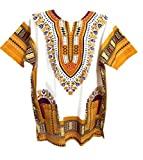 Vipada Handmade Dashiki Shirt African Caftan Unisex Large Size White and Yellow L