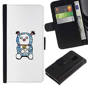 ARTCO Cases - Samsung Galaxy S5 V SM-G900 - Cute Dorae mon Cartooon Illustration - Cuero PU Delgado caso Billetera cubierta Shell Armor Funda Case Cover Wallet Credit Card