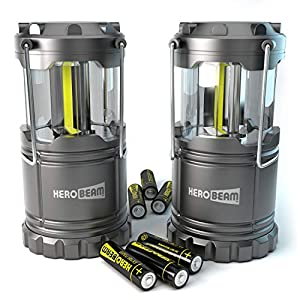 HeroBeam 2 x LED Lantern – THE ORIGINAL Collapsible Tough Lamp with Magnetic Base – Batteries Included – Great Light for Camping, Fishing, Shed, Festivals – UK COMPANY & 5 YEAR WARRANTY