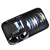 ETbotu CD DVD Holder Bag Cards Pocket Luxurious Leather Sun Visor Shade Hanging Storage Organizer