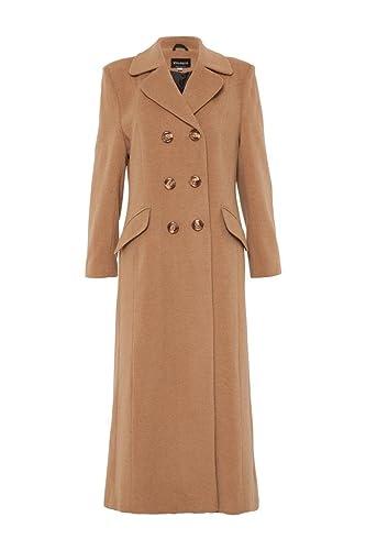 De La Creme -Las mujeres manto Camello botonadura doble equipada tamaño largo Reino Unido 14 EUR 42 USA 10