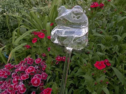 Beautiful Hand Blown Glass Waterers with Self-Watering System Garden Tools Automatic Flower Watering Drippers For Use Indoor Outdoor Small Potted Plants Watering Globes Save Time Watering (Fat Frog)