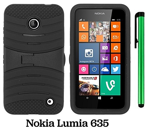 Premium UCASE With Kickstand Cover Case For Nokia Lumia 635 (US Carrier: T-Mobile, MetroPCS, and AT&T) + 1 of New Assorted Color Metal Stylus Touch Screen Pen (Black / Black) (Cute Cases For Nokia Lumia)