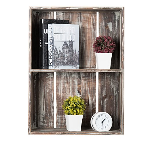 MyGift 24-Inch Rustic Torched Wood Crate Floating Display Shelf by MyGift (Image #3)