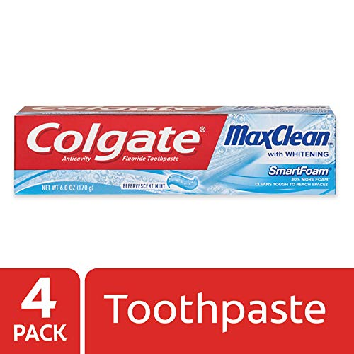 Colgate MaxClean Foaming Toothpaste with Whitening, Mint - 6 Ounce (4 Count) -