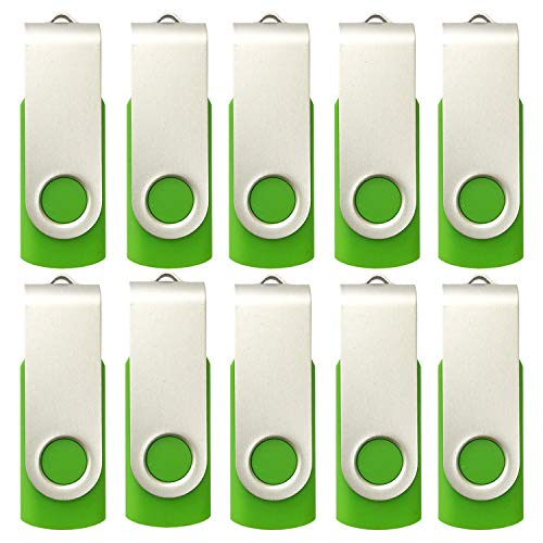 10 X Enfain 16GB USB Flash Drive 2.0 Memory Zip Pen Disk Green, Ideal for Tradeshows, and Other Event-related Marketing Strategies ()
