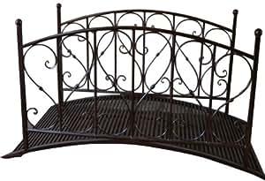 Jardín Puente con barandilla, metal, aspecto oxidado, Jardín Decoración, Metal Puente