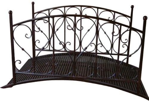 Gartenbrücke mit Geländer, Metall, Rost-Optik, Gartendekoration, Metallbrücke