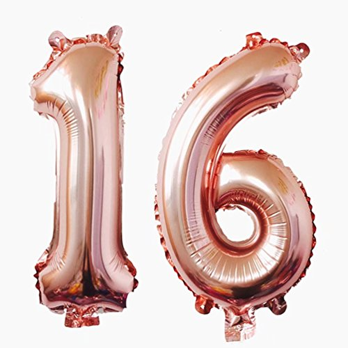 KEYYOOMY 40 inch Number 16 Mylar Balloons Rose Gold Sweet Sixteen Jumbo Foil Number Balloon for Sweet 16 Birthday Party Anniversary Celebrate Parties Decoration (40 inch, Rose Gold Color)