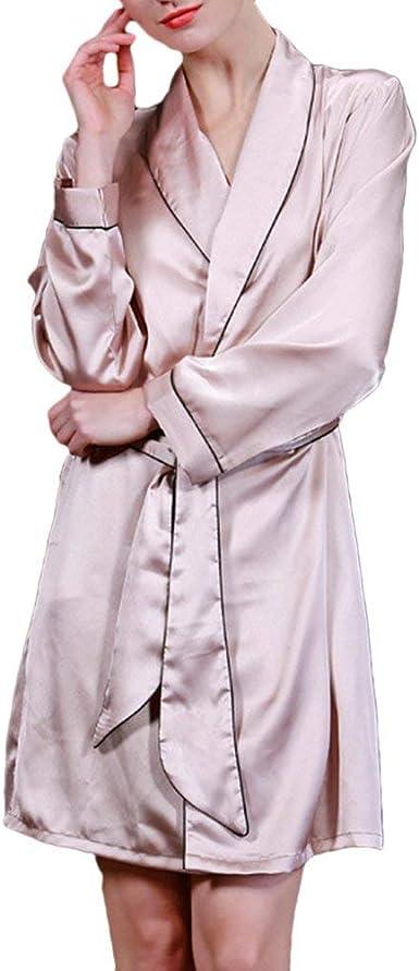 Pijamas Mujer Mujer Primavera Otoño Kimono Casual Unicolor ...